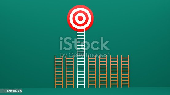 938669816 istock photo Longest light ladder glowing and aiming high to goal target among other short ladders on green background with shadows . 3D rendering.Stand out from the crowd and think different creative idea concept 1213646776
