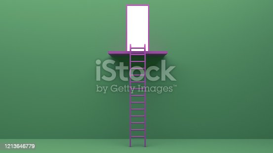 938669816 istock photo Longest light ladder glowing and aiming high to goal target among other short ladders on green background with shadows . 3D rendering.Stand out from the crowd and think different creative idea concept 1213646779