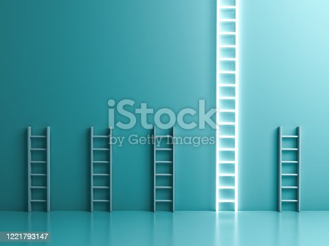938669816 istock photo Longest neon light ladder standing out from the crowd and different the business creative idea concepts on blue green pastel color wall background 1221793147