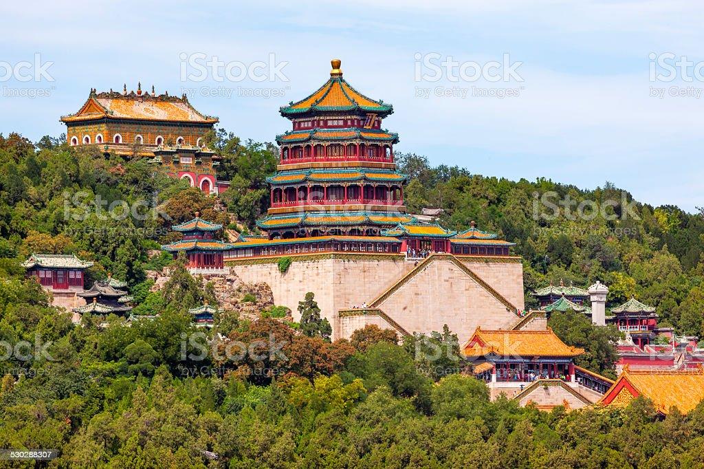 Longevity Hill Tower Orange Roofs Summer Palace Beijing China stock photo