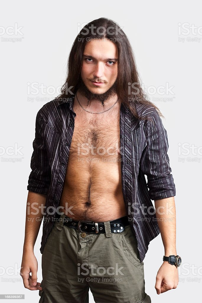 Long-haired, bearded man. stock photo