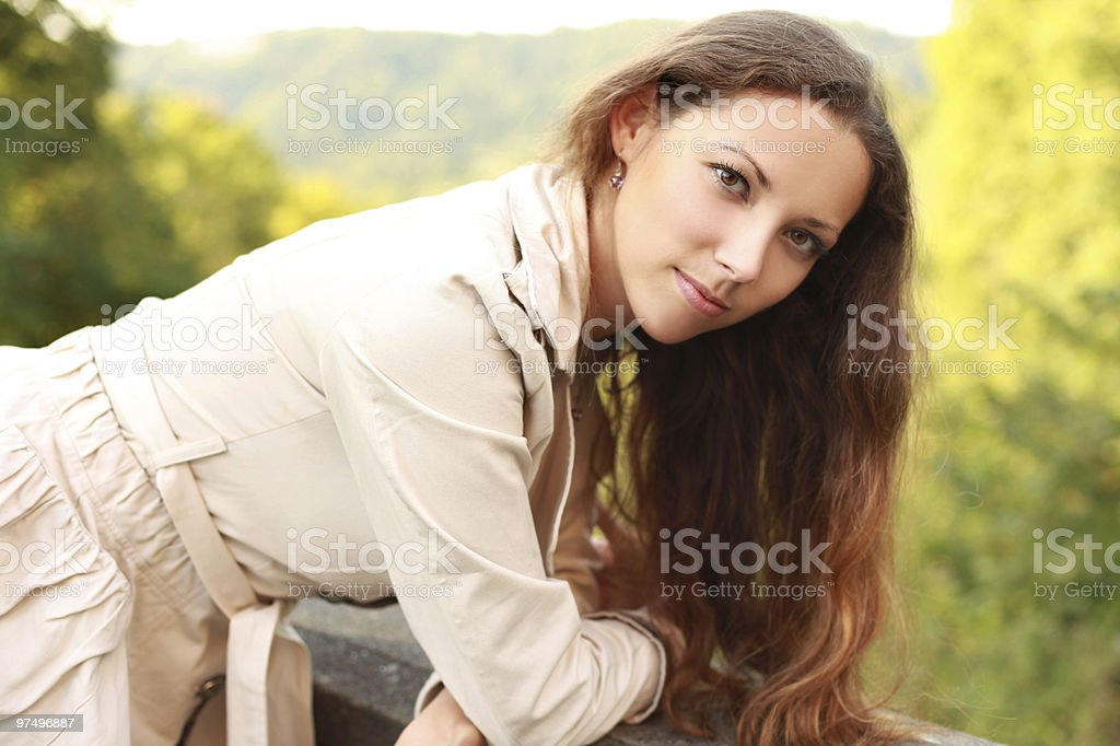 long-haired woman royalty-free stock photo