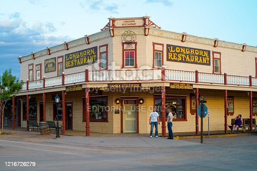 Tombstone, Arizona, United States - July 12 2009: Longhorn Restaurant Saloon in Tombstone, Arizona, a Historic Wild West Location.