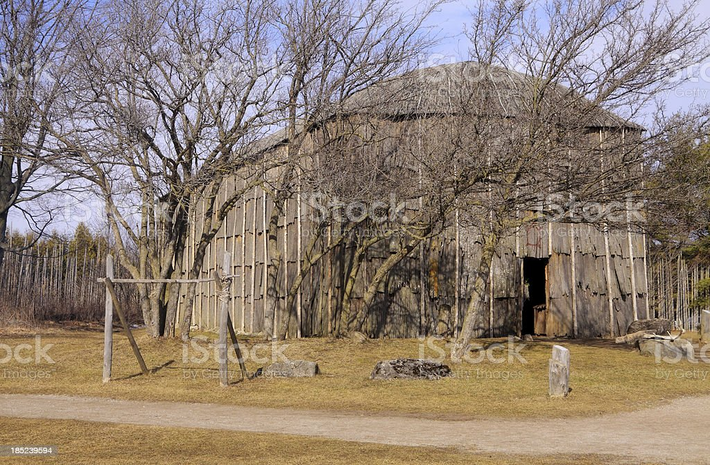 Longhouse in First Nations Village stock photo