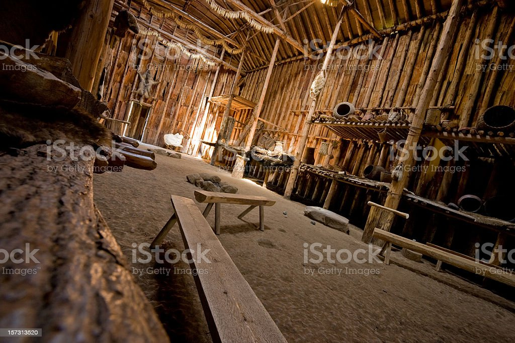 Longhouse interior, Shelter, Native Culture stock photo