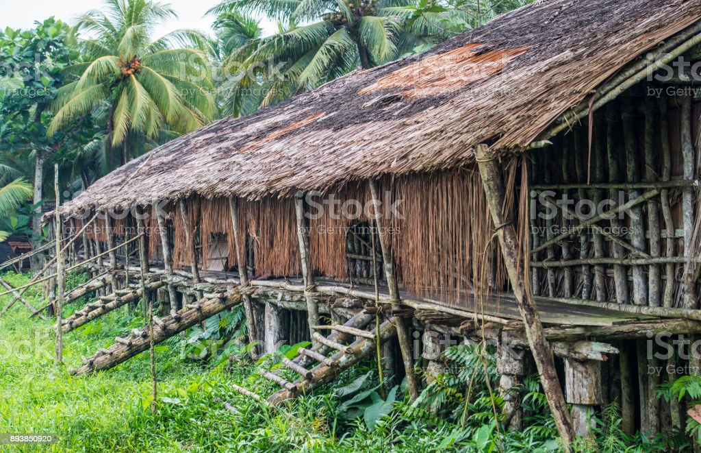 Longhouse of the Asmat people, West Papua, Newguinea stock photo