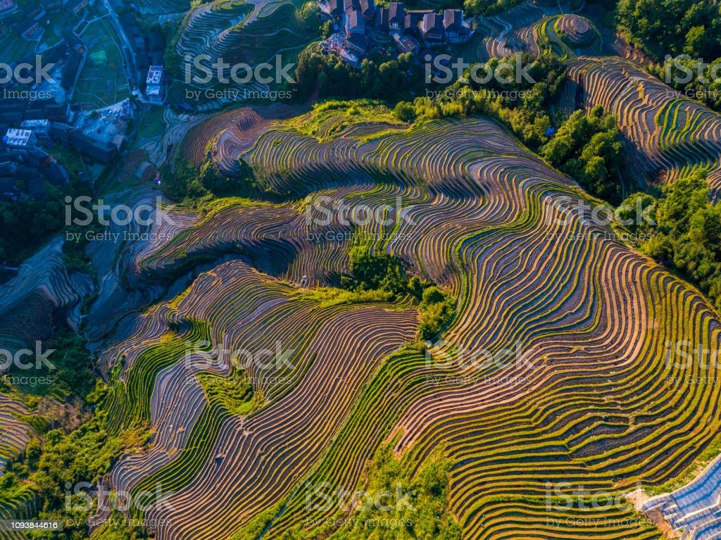 Longji Terraced Fields in Longsheng,Guilin,China Longji Terraced Fields in Longsheng,Guilin,China Aerial View Stock Photo