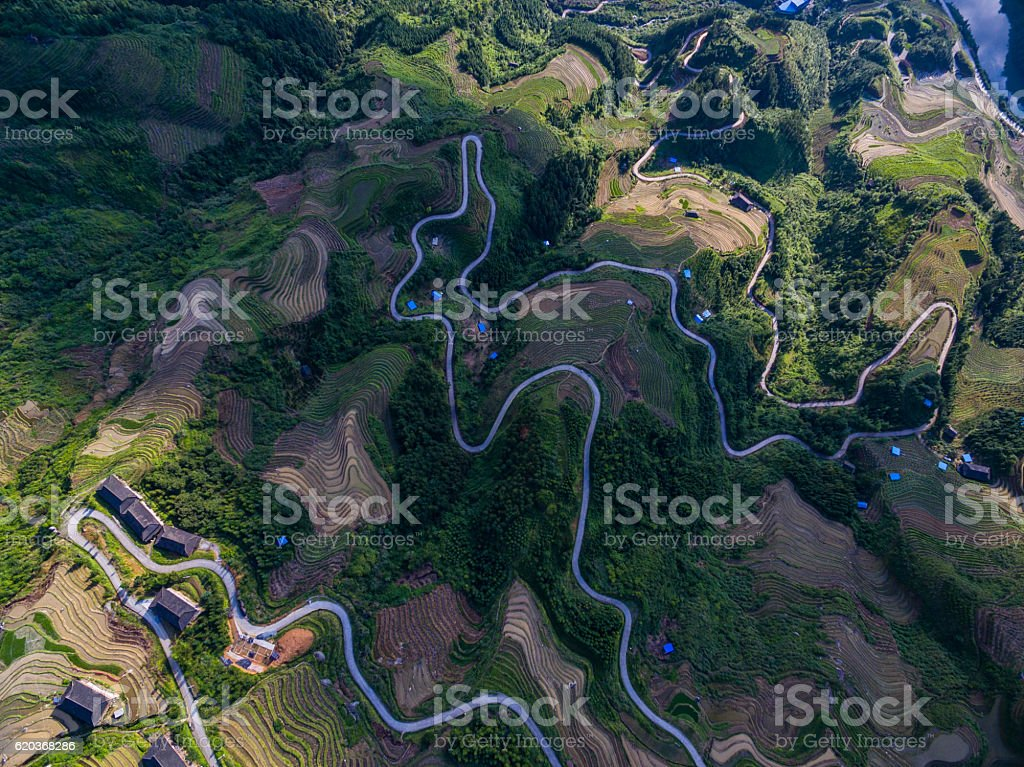 Longji Terraced campos Longsheng, Guilin, China, foto de stock royalty-free