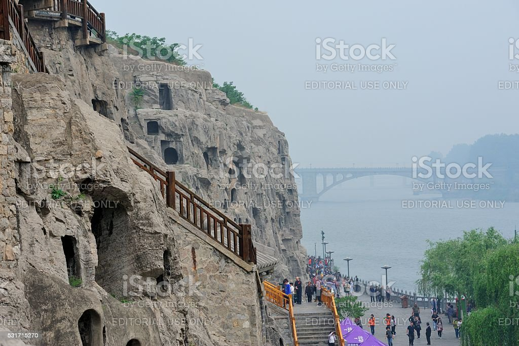 Longmen Grottoes in China's luoyang-outdoor scene 01 stock photo