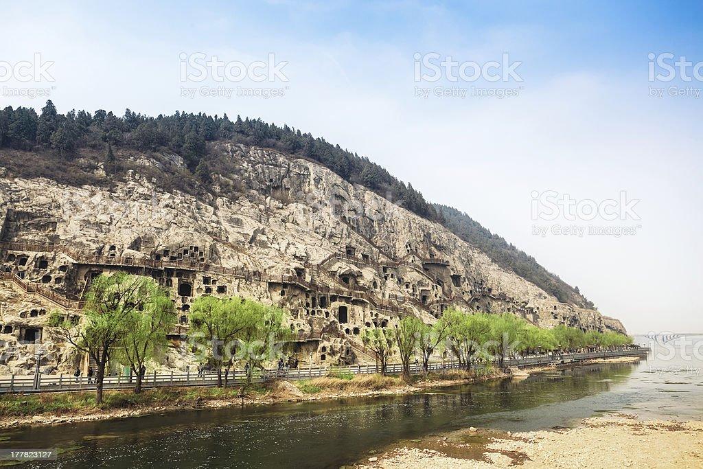 longmen grottoes in riverside stock photo