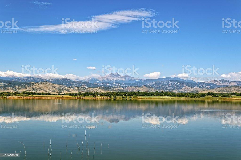 Longmont and Longs peak stock photo