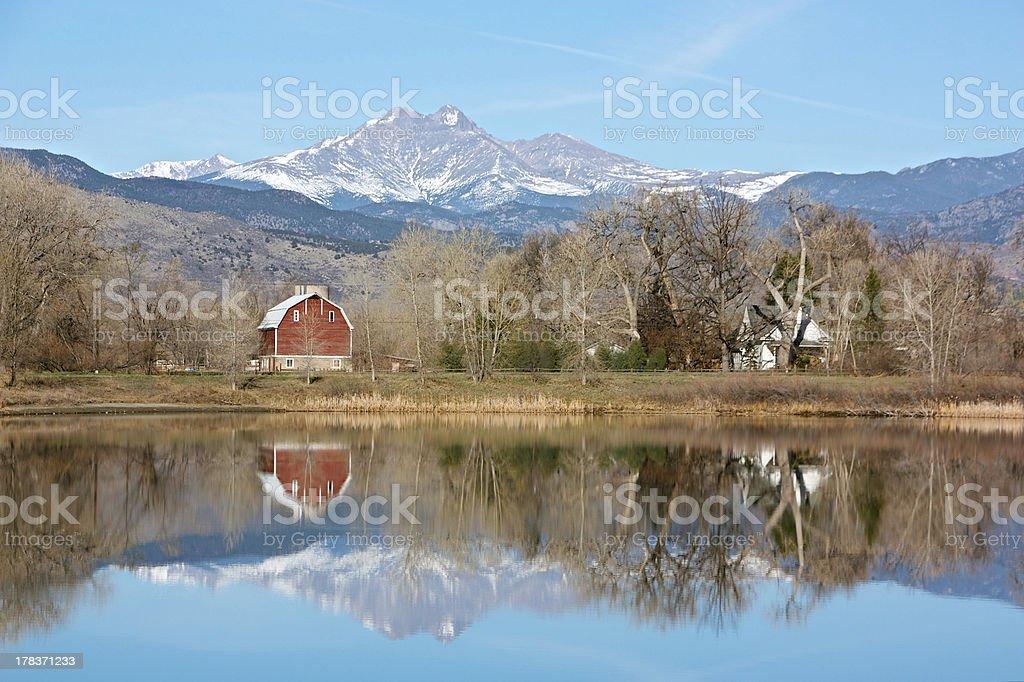 Longs Peak and Barn from Pella Crossing, Longmont, Colorado stock photo