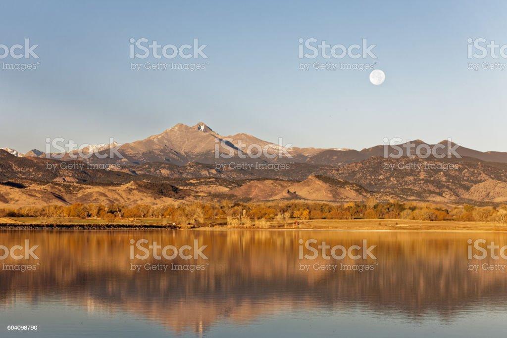 Longs peak and Full Moon stock photo