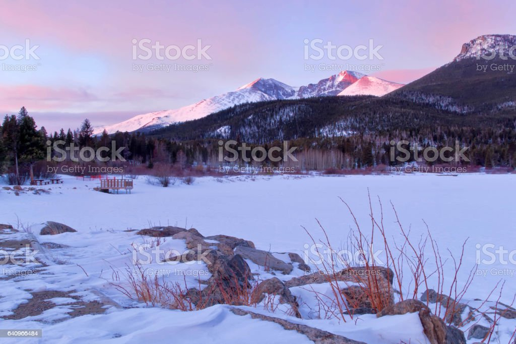 Long's Peak and Lily Lake sunrise in Estes park, Colorado stock photo