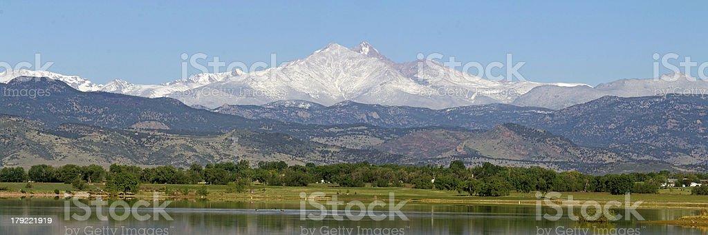 Longs peak and Mount Meeker Longmont Colorado stock photo