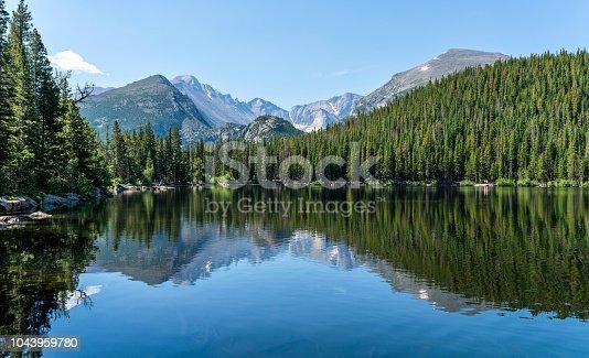 istock Longs Peak at Bear Lake - Longs Peak and Glacier Gorge reflecting in blue Bear Lake on a calm Summer morning, Rocky Mountain National Park, Colorado, USA. 1043959780