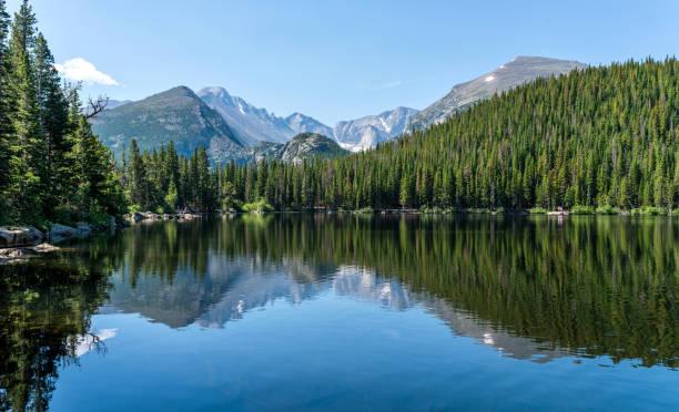 在一個平靜的夏日早晨, 位於美國科羅拉多州洛磯山脈國家公園的熊湖--山頂和冰川峽谷, 在藍色的熊湖上反射著山峰。 - 大自然 個照片及圖片檔