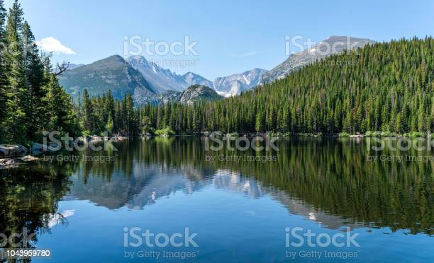 Longs Peak and Glacier Gorge reflecting in blue Bear Lake on a calm Summer morning, Rocky Mountain National Park, Colorado, USA.