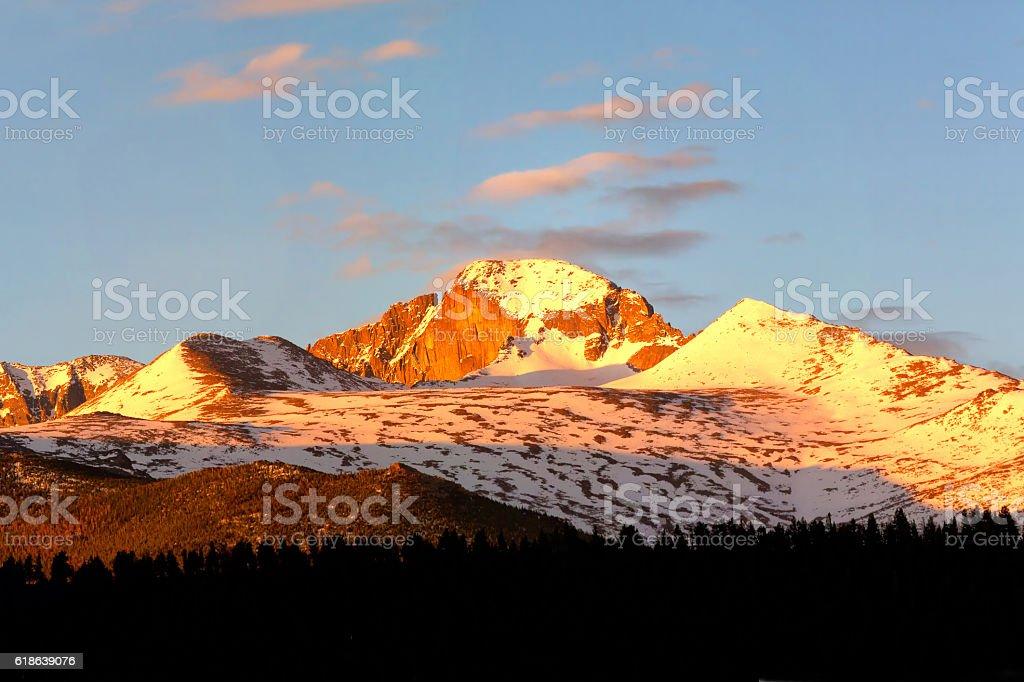 Longs Peak at sunrise stock photo