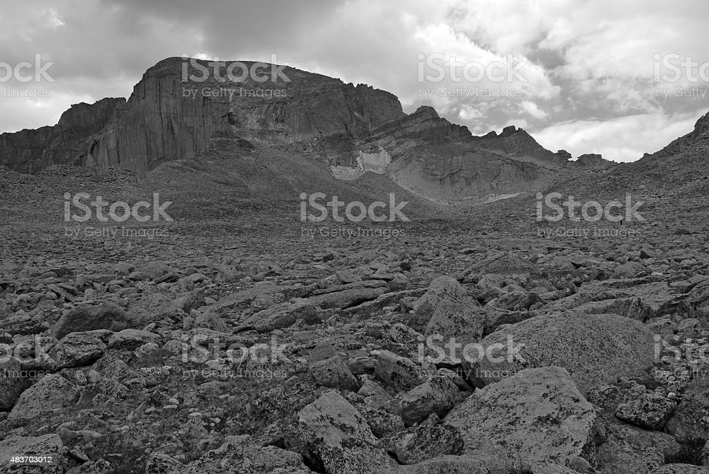 Longs Peak, Colorado 14er with Thunderstorms building, Rocky...