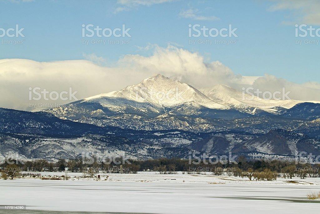 Longs Peak Colorado in the Winter stock photo