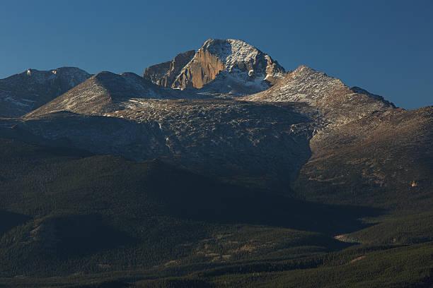 Longs Peak Diamond Face at Dawn stock photo