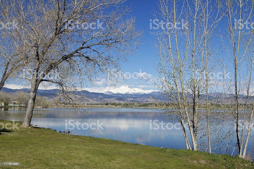Longs Peak from McIntosh Lake stock photo