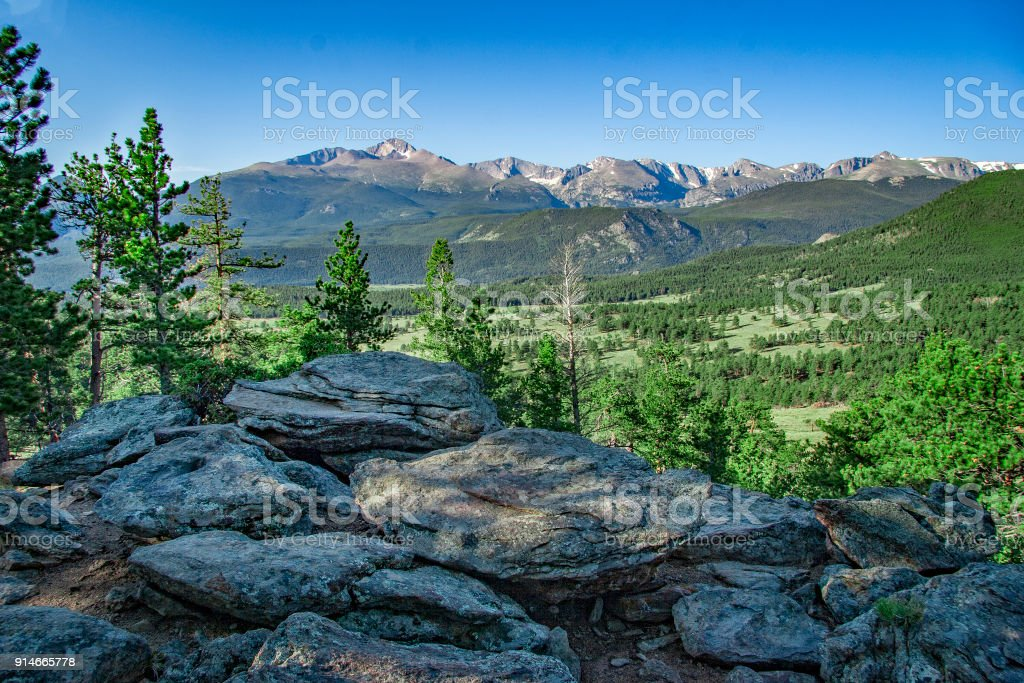 Longs Peak from the summit of Deer Mountain, Rocky Mountain National Park, Colorado, USA stock photo