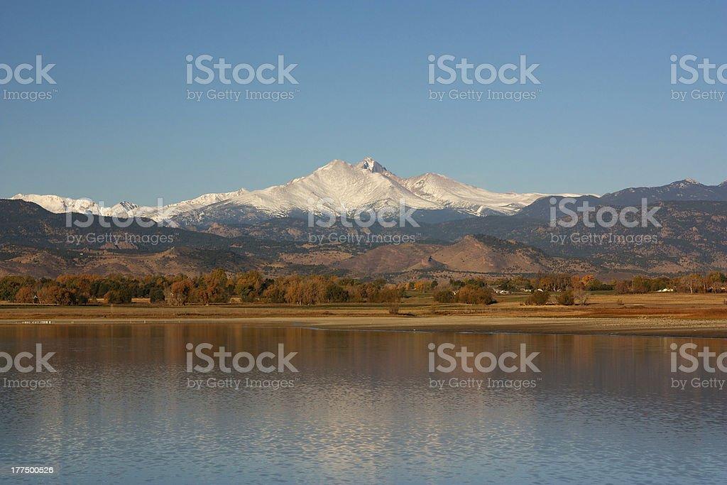 Longs Peak in the Fall from Longmont Colorado stock photo