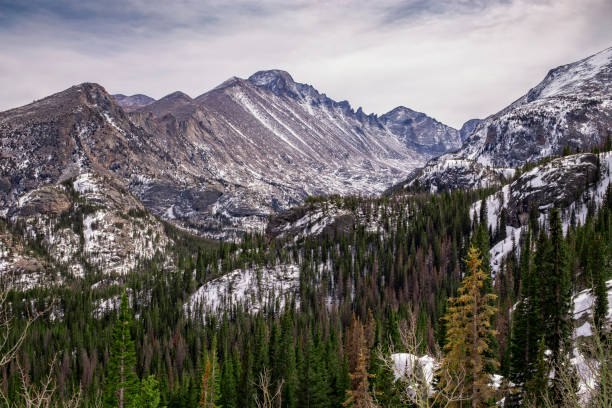 longs peak in winter, rocky mountain national park, colorado, usa - rocky mountains stock photos and pictures