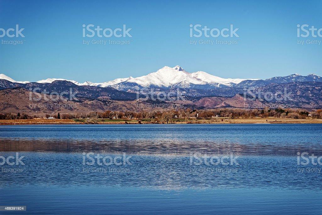 Longs Peak Masive across McIntosh Lake stock photo