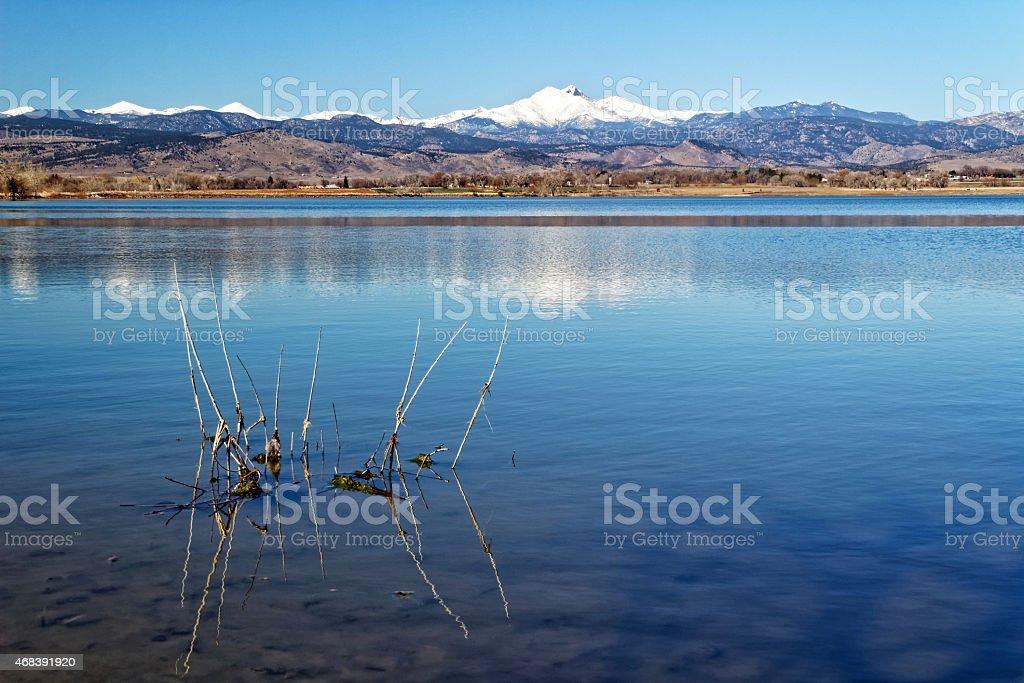 Longs peak Massive wide angle view across McIntosh Lake stock photo