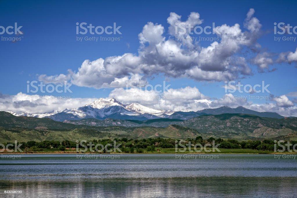 Longs peak Mountain in early fall stock photo