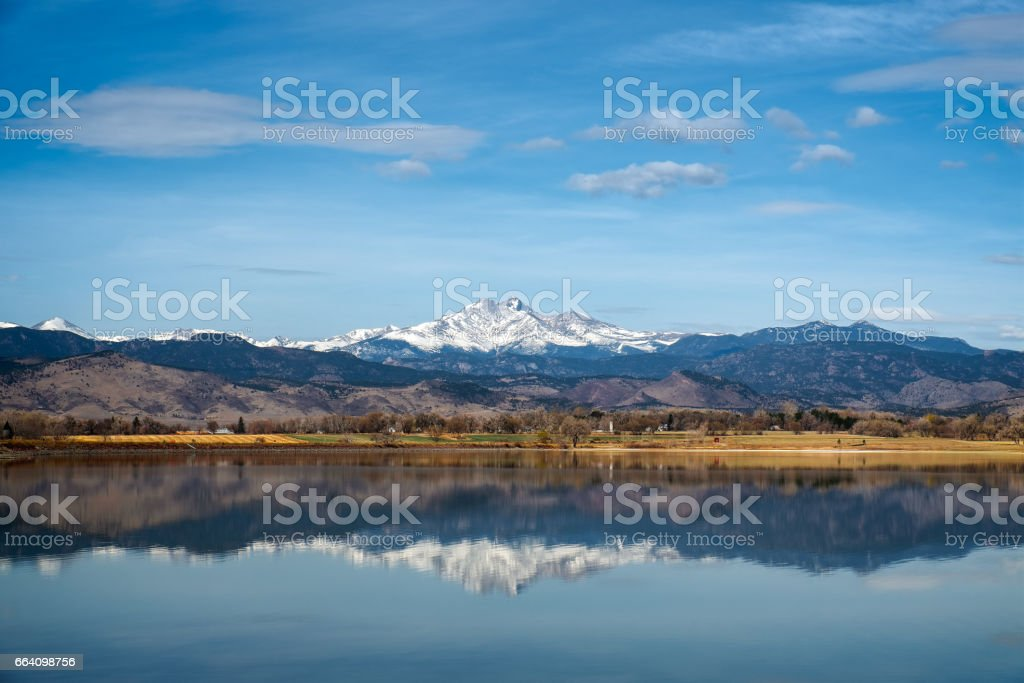 Longs peak Mountain Lake reflection stock photo