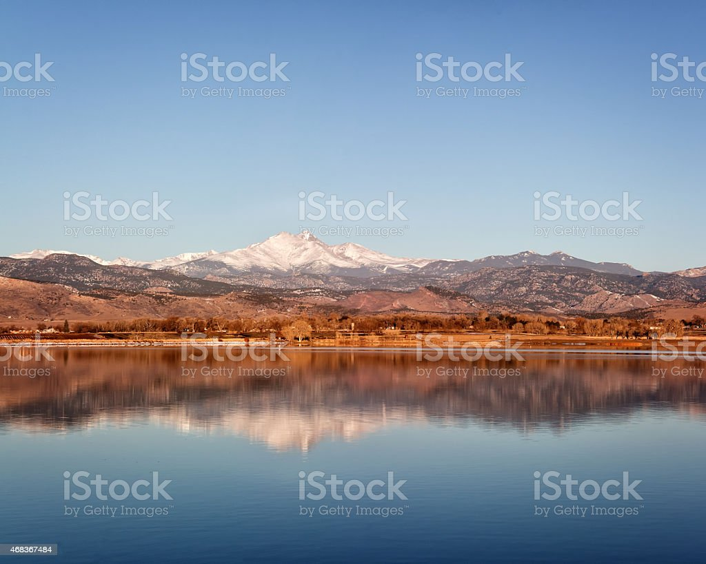 Longs Peak Mountain Reflection stock photo