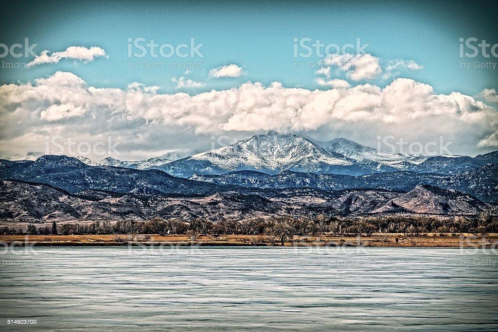 Longs Peak Mountain, Winter Time stock photo