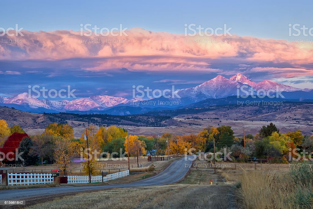 Long's Peak Sunrise on a Fall Morning stock photo