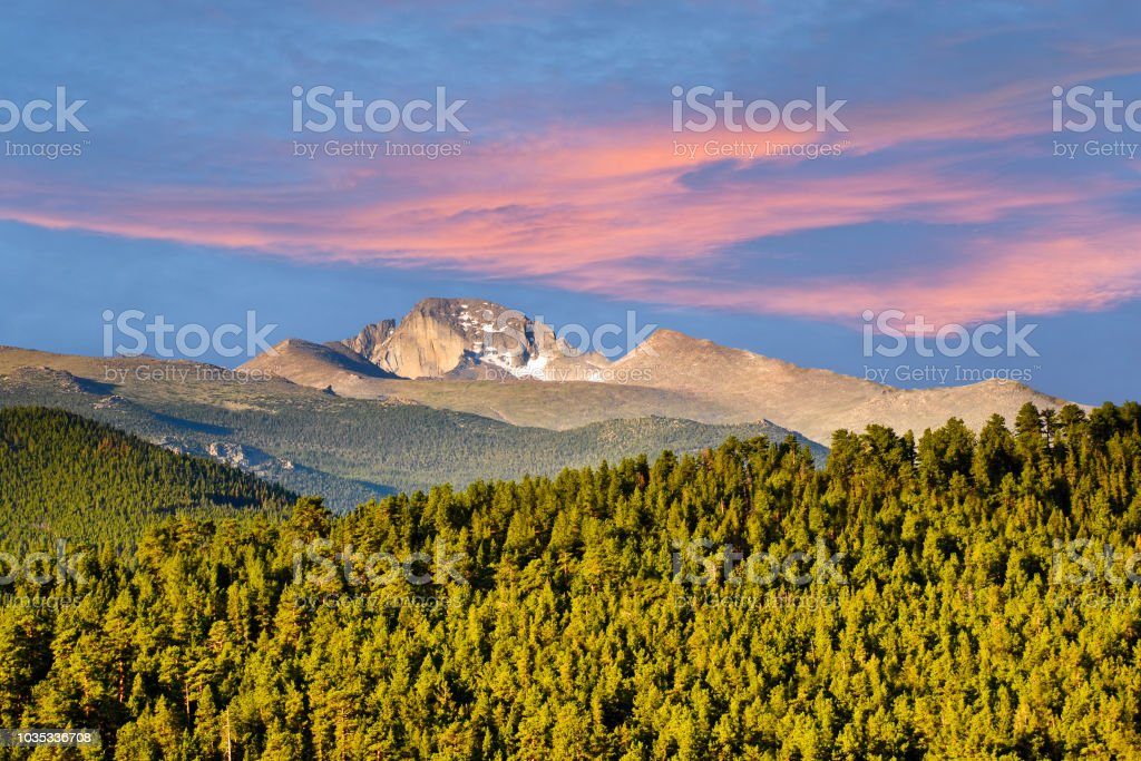 Longs Peak at Sunrise stock photo