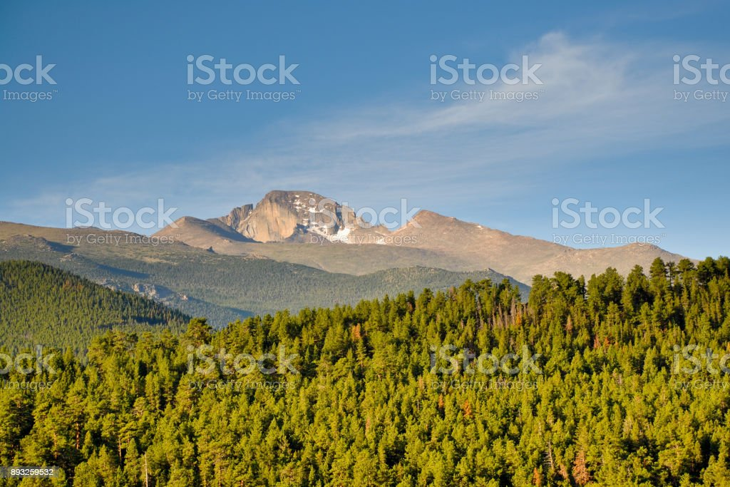 Long's Peak at Sunrise stock photo