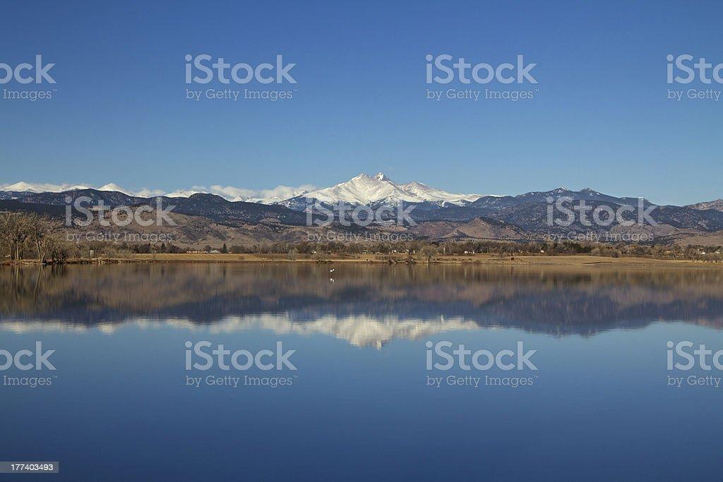 Longs Peak with Lake reflection stock photo