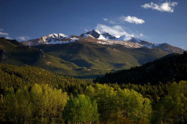 Longs Peak with Spring Trees in the Rocky Mountains, Colorado stock photo