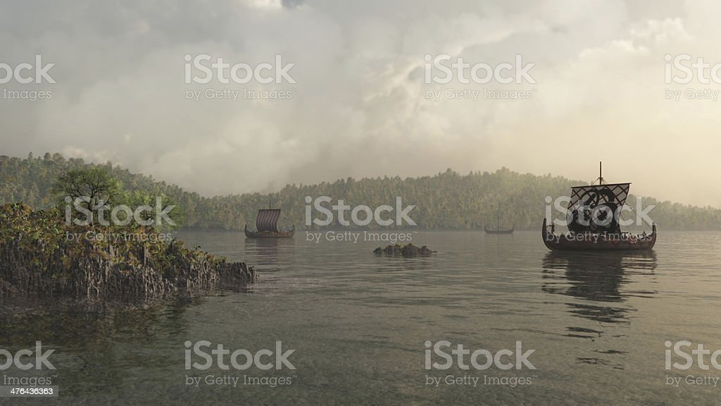 Longships in the Mist stock photo