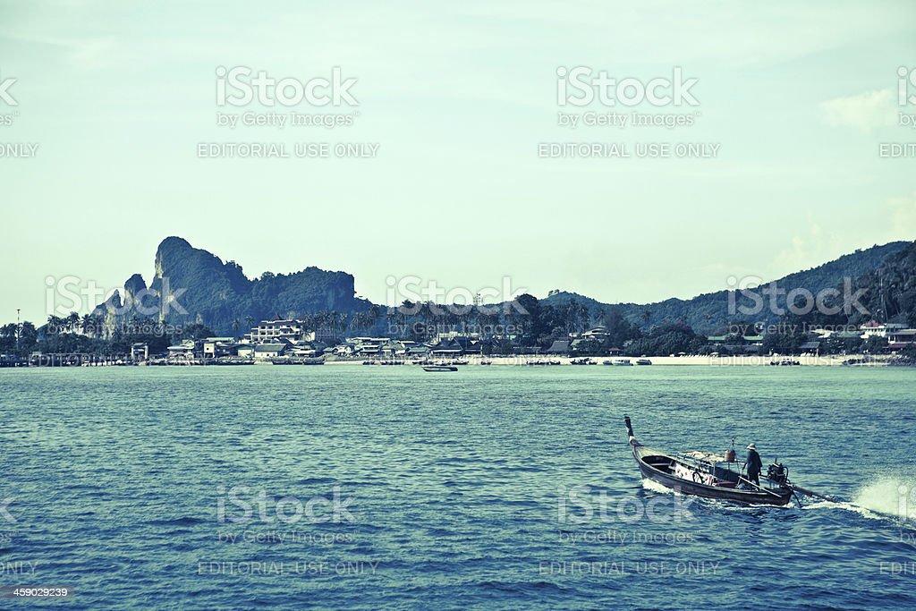 Longtail Boat Heading for Koh Phi-Phi royalty-free stock photo