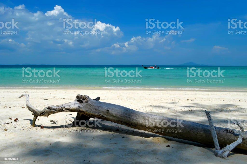 Longtail boat off Poda island stock photo