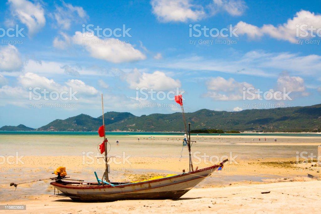 Longtail boat on paradise island, Koh Samui, Thailand stock photo