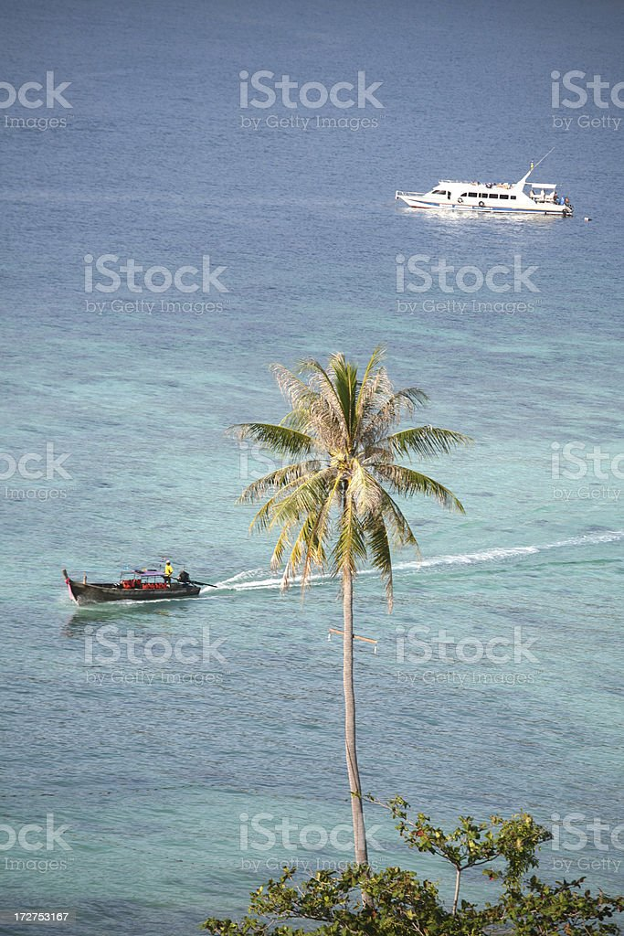 Longtail boat on Phi-phi island, Thailand royalty-free stock photo