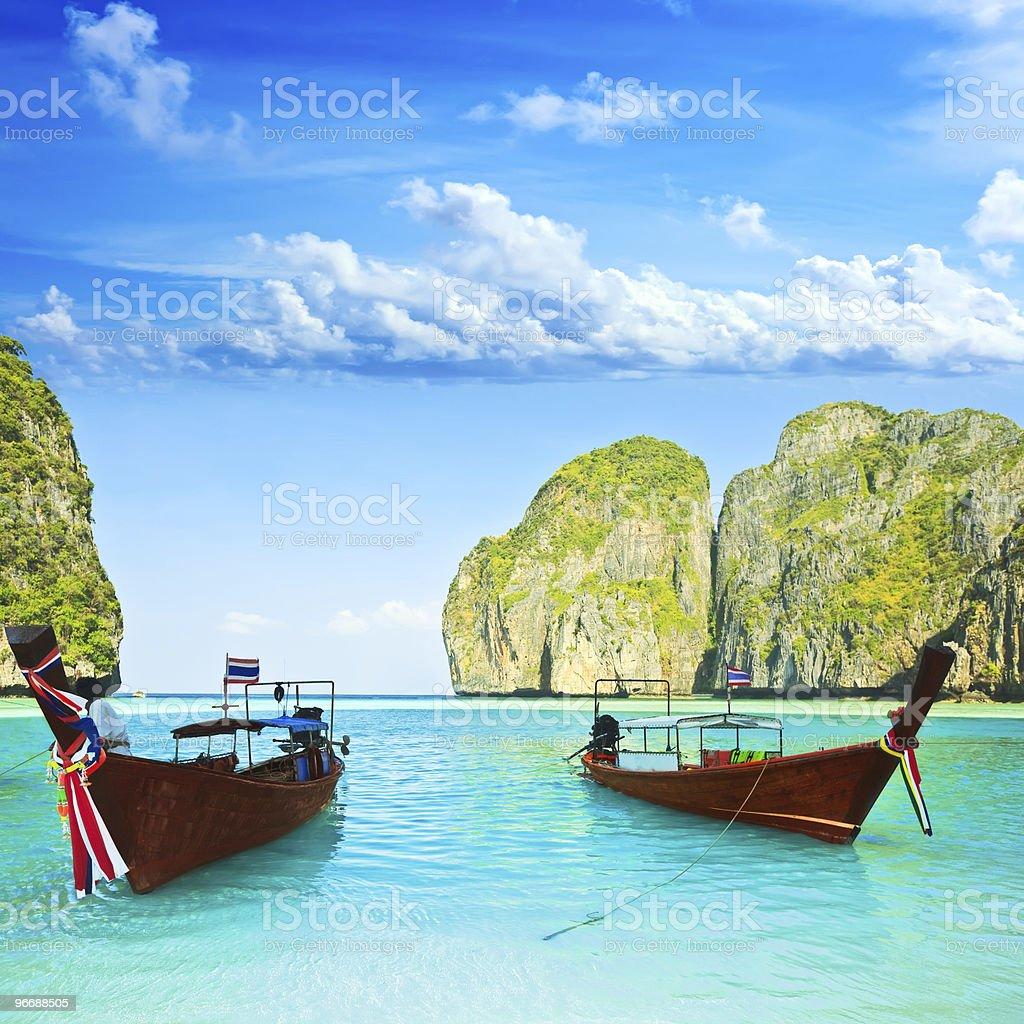 Longtail boats at Maya bay stock photo