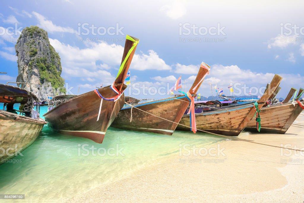 Longtail boats at Poda island near Ao Nang ,Krabi Thailand. stock photo