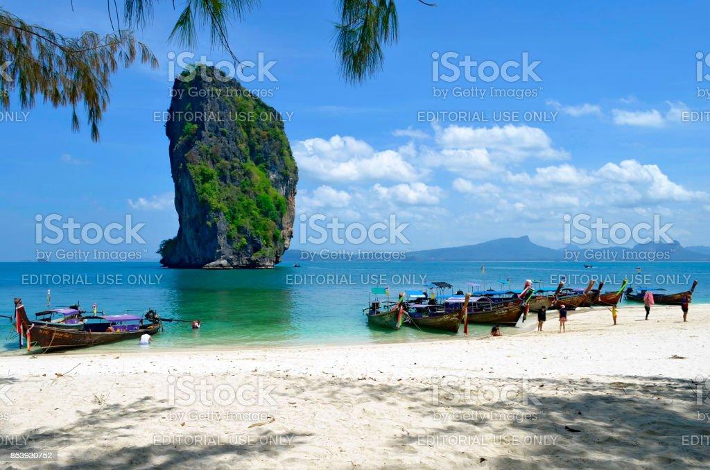 Longtail boats at Poda island stock photo