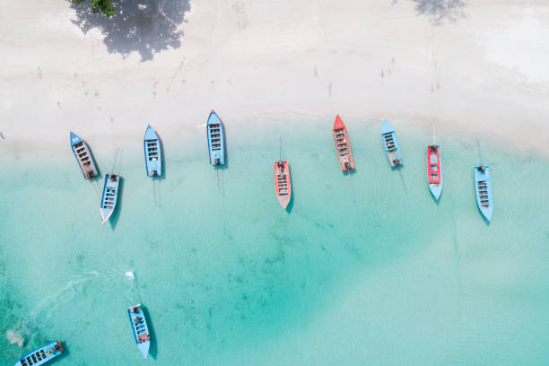 Long-tail Boats, Bird's-Eye View, Haad Rin Beach, Thailand stock photo